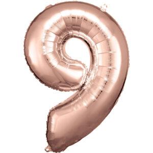 Amscan Balónek fóliový narozeninové číslo 9 - růžovo-zlatý