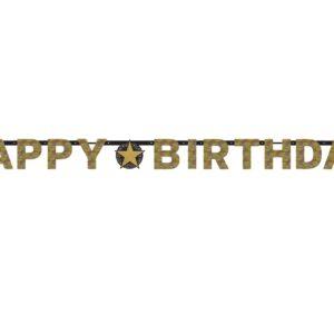 Amscan Banner happy Birthday - zlatý třpytivý