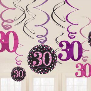 Amscan Dekorace víry 30. narozeniny růžové třpytivé