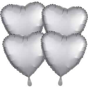 Amscan Fóliové balonky sada srdce satén - šedé 4 ks