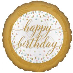 Amscan Fóliový balón Happy Birthday - Pastelové konfety 43 cm