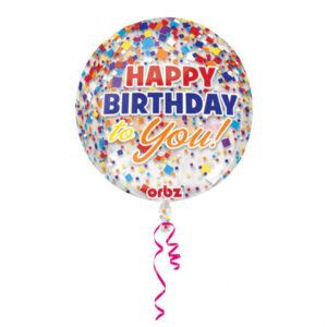 Amscan Fóliový balón Happy Birthday - konfetový 38 x 40 cm