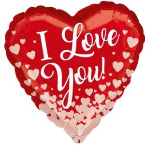 Amscan Fóliový balón - I love you růžovozlatá srdce
