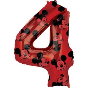 Amscan Fóliový balónek narozeninové číslo 4 - Mickey Mouse 66cm