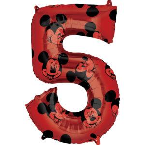 Amscan Fóliový balónek narozeninové číslo 5 - Mickey Mouse 66cm