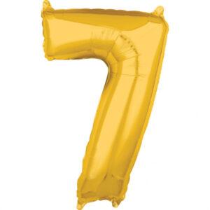 Amscan Fóliový balónek narozeninové číslo 7 zlatý 66cm