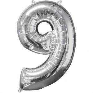 Amscan Fóliový balónek narozeninové číslo 9 stříbrný 66cm
