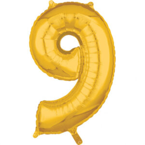 Amscan Fóliový balónek narozeninové číslo 9 zlatý 66cm