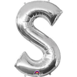 Amscan Fóliový balónek písmeno S 86 cm stříbrný