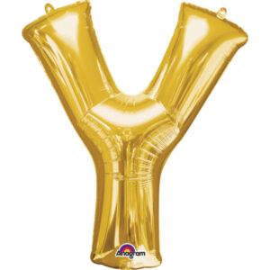 Amscan Fóliový balónek písmeno Y 86 cm zlatý
