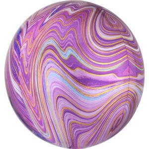 Amscan Kulatý fóliový balón - mramorový fialový
