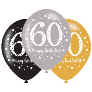 Amscan Latexové balonky 60. narozeniny - 6 ks