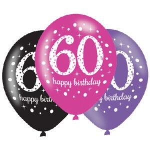 Amscan Latexové balonky 60. narozeniny - růžová party