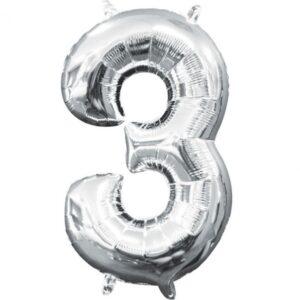 Amscan Mini fóliový balón číslo 3 stříbrný 33 cm