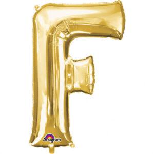 Amscan Mini fóliový balónek písmeno F 33 cm zlatý