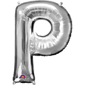 Amscan Mini fóliový balónek písmeno P 33 cm stříbrný