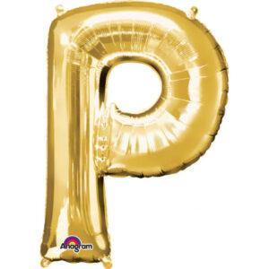 Amscan Mini fóliový balónek písmeno P 33 cm zlatý