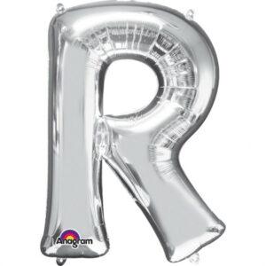 Amscan Mini fóliový balónek písmeno R 33 cm stříbrný