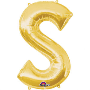 Amscan Mini fóliový balónek písmeno S 33 cm zlatý