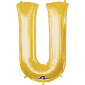 Amscan Mini fóliový balónek písmeno U 33 cm zlatý