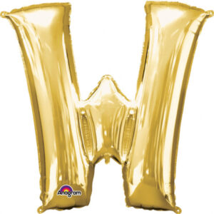 Amscan Mini fóliový balónek písmeno W 33 cm zlatý