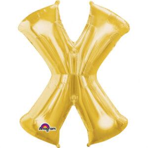 Amscan Mini fóliový balónek písmeno X 33 cm zlatý