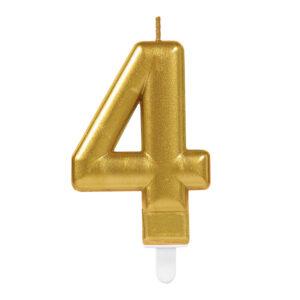 Amscan Narozeninová svíčka 4 zlatá