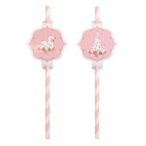 Amscan Papírové brčka růžové Princess for a day 8 ks