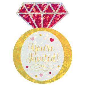 Amscan Pozvánky - diamantový prsten 8 ks