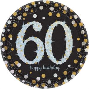 Amscan Talíře 60. narozeniny zlaté třpytivé