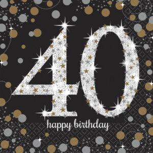 Amscan Ubrousky 40. narozeniny zlaté  třpytivé