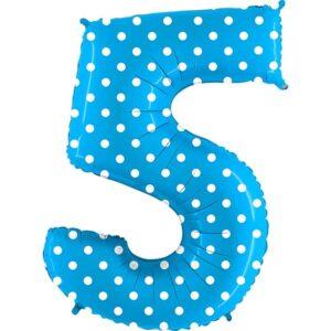 BALÓNEK FÓLIOVÝ číslo 5 modrý s puntíky 1 ks 102 cm
