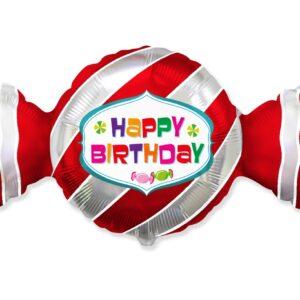 Godan Fóliový balón - Happy Birthday červený bonbón 60 cm