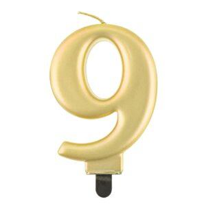 Godan Narozeninová svíčka 9 metalická zlatá