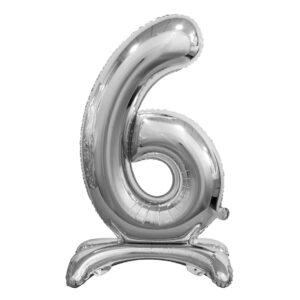 Godan Samostojící fóliový balón 6 stříbrný 74 cm