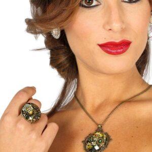 Guirca Set - náhrdelník a prsteň ve stylu Steampunk