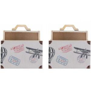 KRABIČKA dřevěná na drobnosti Cestovní kufřík 6x3x4cm 2ks