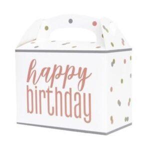 KRABIČKY na výslužku Happy Birthday puntíky 6ks