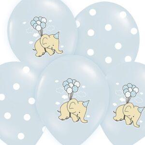 PartyDeco Balón pastelový slon modrý
