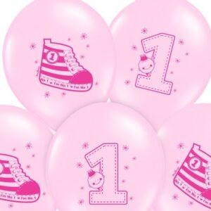 PartyDeco Balónek Teniska 1. narozeniny pastelová růžová