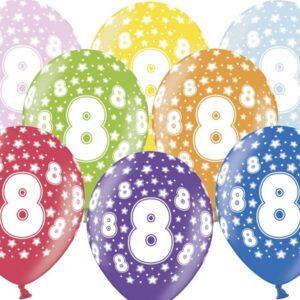 PartyDeco Balónek s číslem 8 narozeninový
