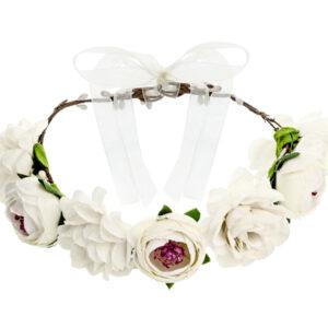 PartyDeco Čelenka s bílými květy