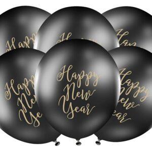 PartyDeco Černý balón - Happy New Year