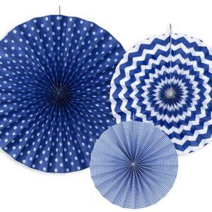 PartyDeco Dekorační rozety námořnicky modré 3 ks