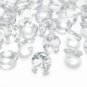PartyDeco Diamantové konfety průhledné 20mm