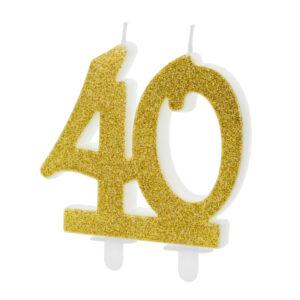 PartyDeco Dortová svíčka - zlatá 40