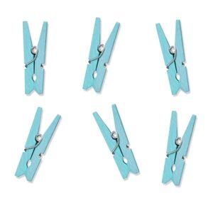PartyDeco Dřevěné dekorační kolíčky světle modré 20 ks