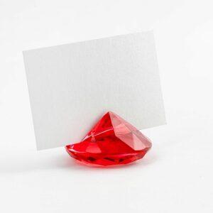 PartyDeco Držák na jmenovky Diamant červený