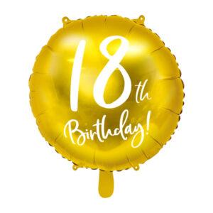 PartyDeco Fóliový balón - 18tka (zlatý)