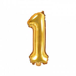 PartyDeco Fóliový balónek Mini - Číslo 1 zlatý 35cm